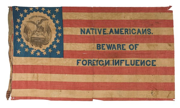 A flag representing the ideas of the Know-Nothing Party, originating in 1849 and active throughout the 1850s.