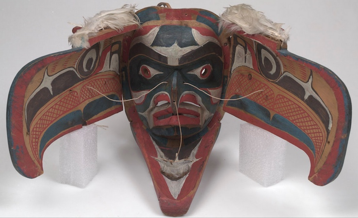 Kwakwaka'wakw artist, Eagle Mask open, late 19th c., from Alert Bay, Vancouver Island, British Columbia, Canada, cedar wood, feathers, sinew, cord, bird skin, hide, plant fibers, cotton, iron, pigments, 37 x 57 x 49 cm (American Museum of Natural History)