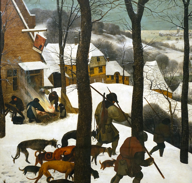 pieter bruegel the elder hunters in the snow winter article  hunters and inn detail pieter bruegel the elder hunters in the snow winter 1565 oil on wood 162 x 117 cm kunsthistorisches museum vienna