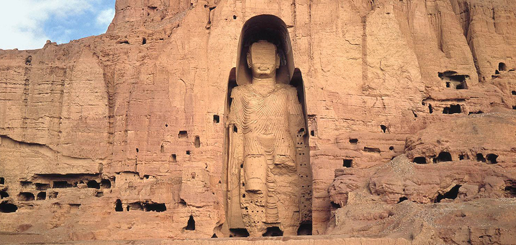West Buddha surrounded by caves, c. 6th-7th c C.E., stone, stucco, paint, 175 feet high, Bamiyan, Afghanistan, destroyed 2001 (photo: © Afghanistan Embassy)