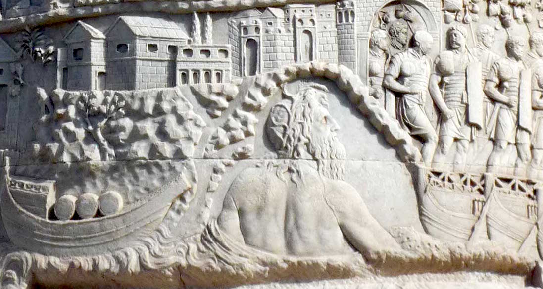 The crossing of the Roman Army over the Danube River in the first Dacian War (the large figure is a personification of the Danube) (detail), Column of Trajan, dedicated 113 C.E., Rome (photo: Steven Zucker, CC BY-NC-SA 2.0)