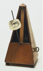 Man Ray, Indestructible Object (or Object to Be Destroyed), 1964 (replica of 1923 original), metronome with cutout photograph of eye on pendulum, 22.5 x 11 x 11.6 cm (The Museum of Modern Art) © 2014 Man Ray Trust / Artists Rights Society (ARS), New York / ADAGP, Paris