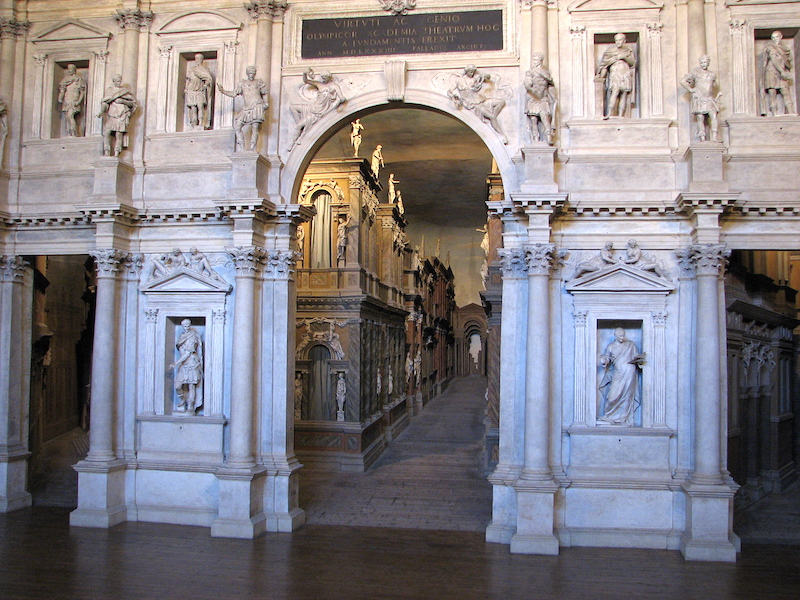 Perspectival passageway, Andrea Palladio (with scenographic modifications by Vicenzo Scamozzi), Teatro Olimpico, Vicenza, Italy, 1580-85 (photo: Patrick Denker, CC BY 2.0)