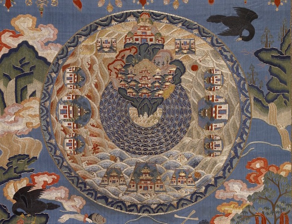 Cosmic Mount Meru (detail), 18th century, East Tibet or China, appliqué and embroidery with silk (The Walters Art Museum, Baltimore)