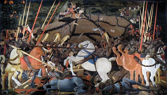 Paolo Uccello, Battle of San Romano, c.1435–1455), tempera on wood,182 × 320 cm (Galleria degli Uffizi, Florence)