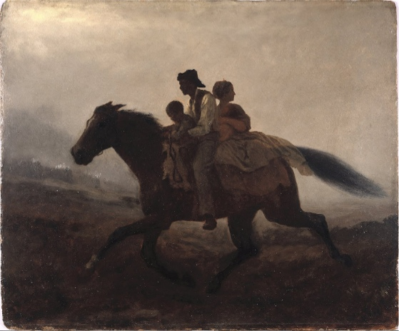 Eastman Johnson, A Ride for Liberty -- The Fugitive Slaves, c. 1862, oil on paper board, 55.8 x 66.4 cm (Brooklyn Museum)