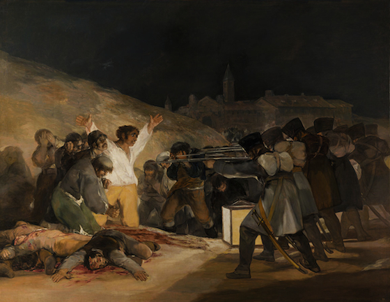 "Francisco Goya, The Third of May, 1808 in Madrid, 1808, 1814-15, oil on canvas, 8' 9"" x 13' 4"" (Museo del Prado, Madrid)"