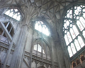 Gothic windows at Gloucester Cathedral.