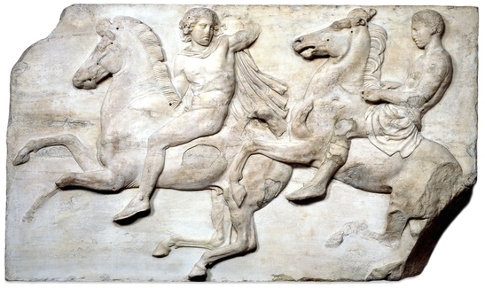 Horsemen from the west frieze of the Parthenon, Acropolis, Athens, c. 438-432 B.C.E.(The British Museum)
