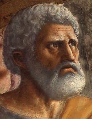 Peter (detail), Masaccio, Tribute Money, 1427, fresco (Brancacci Chapel, Santa Maria del Carmine, Florence)
