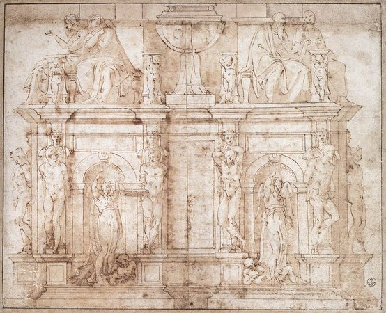 Michelangelo, drawing for the Tomb of Pope Julius II, c. 1505, pen and ink (Galleria degli Uffizi, Florence)