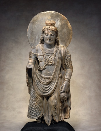 The Bodhisattva Maitreya, 100–300. Pakistan; ancient region of Gandhara. Schist. The Avery Brundage Collection, B60S597.