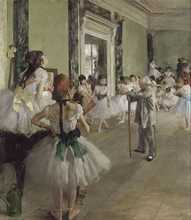 Edgar Degas, The Ballet Class, 1871-1874, oil on canvas, 75 x 85 cm (Musée d'Orsay, Paris)