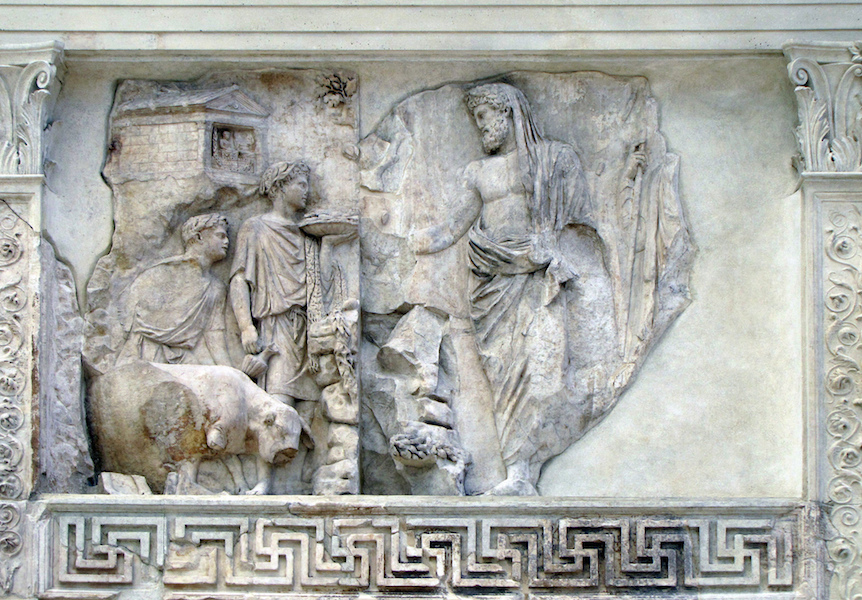 Sacrifice Panel, Ara Pacis Augustae (Altar of Augustan Peace) 9 B.C.E. (Ara Pacis Museum, Rome) (photo: Steven Zucker, CC BY-NC-SA 2.0)