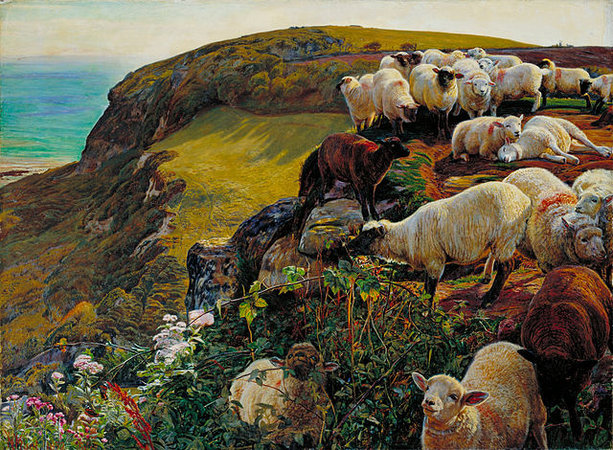William Holman Hunt, Our English Coasts (Strayed Sheep), 1852, oil on canvas, 43.2 x 58.4 cm (Tate Britain, London)