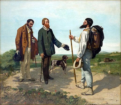 Gustave Courbet, La rencontre (Bonjour Monsieur Courbet), 1854, oil on canvas, 129 x 149 cm (Musée Fabre, Montpellier)