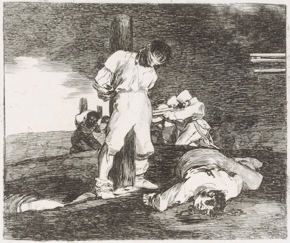 Francisco de Goya, And there's nothing to be done (Y no hai remedio), plate 15 from The Disasters of War (Los Desastres de la Guerra), 1810, etching, drypoint, burin and burnisher, 14 x 16.7 cm (The Metropolitan Museum of Art)
