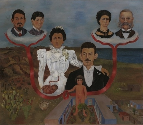 "Frida Kahlo, My Grandparents, My Parents, and I (Family Tree), 1936, oil and tempera on zinc, 12 1/8 x 13 5/8"" (The Museum of Modern Art)"