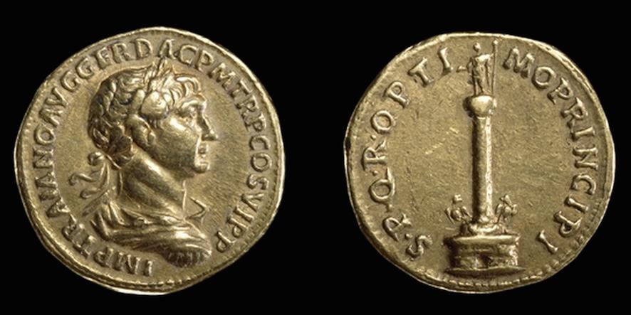 Gold aureus showing Trajan's Column, Roman, early 2nd century C.E. (The British Museum)