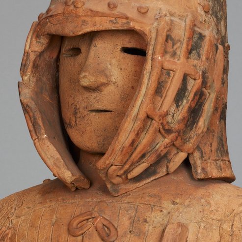Face (detail), Hawiwa Armored Man, National treasure, excavated in Iizuka-machi, Ota City, Gunma Prefecture, Kofun period/6th century 130.5 cm (Tokyo National Museum) ©National Institutes for Cultural Heritage