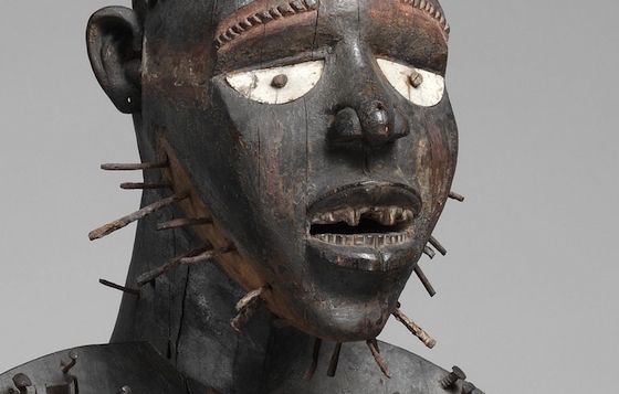 "Face (detail), Power Figure (Nkisi N'Kondi: Mangaaka), mid to late nineteenth century, wood, paint, metal, resin, ceramic, 46 7/16"" / 118 cm high, Democratic Republic of Congo (The Metropolitan Museum of Art)"