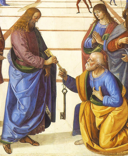Perugino, Christ Giving the Keys of the Kingdom to St. Peter, 1481-83, fresco, 10 feet 10 inches x 18 feet (Vatican, Rome)