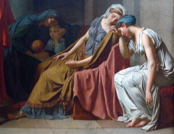 Women (detail), Jacques-Louis David, Oath of the Horatii, oil on canvas, 3.3 x 4.25m, commissioned by Louis XVI, painted in Rome, exhibited at the salon of 1785 (Louvre)