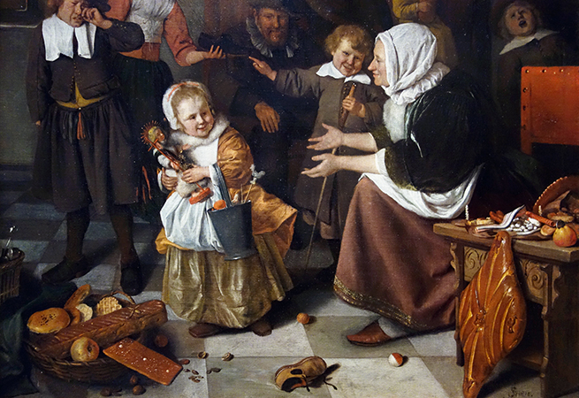 Detail, Jan Havicksz Steen, The Feast of St Nicholas, 1665-68, oil on canvas, 82 × 70.5 cm (Rijksmuseum)