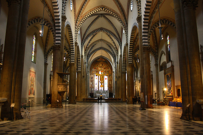 View of nave of Santa Maria Novella, Florence with Masaccio's fresco on the left wall (photo: Trevor Huxham, CC BY-NC-ND 2.0)