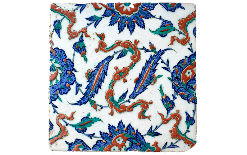Tile with floral and cloud-band design, c. 1578 (Ottoman, Iznik), stonepaste; polychrome painted under transparent glaze 24.9 x 25.1 x 1.7 cm (photo: The Metropolitan Museum of Art) http://www.metmuseum.org/collection/the-collection-online/search/444897