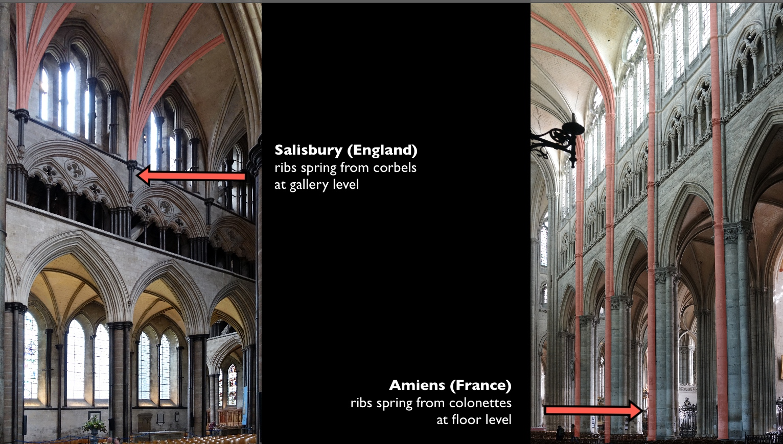 Comparison Of The Nave Elevations Salisbury Cathedral And Amiens Elevation Photos Dr Steven Zucker CC BY NC SA 40
