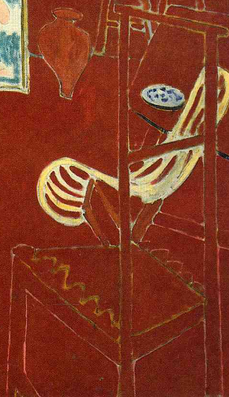 Chair (detail), Henri Matisse, The Red Studio, 1911, oil on canvas, 181 x 219.1 cm (Museum of Modern Art, New York)