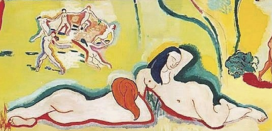 Henri Matisse, detail Bonheur de Vivre (Joy of Life), 1905-06, oil on canvas, 176.5 x 240.7 cm (The Barnes Foundation, Philadelphia)