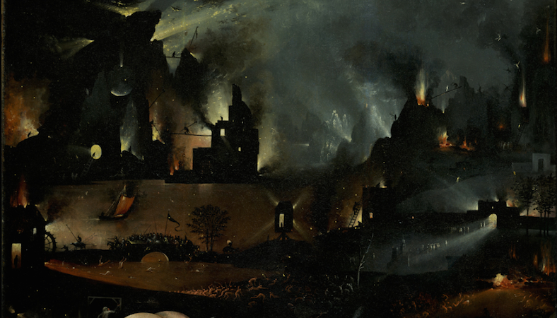 Panel of hell (detail), Hieronymus Bosch, The Garden of Earthly Delights, c. 1480-1505, oil on panel, 220 x 390 cm (Prado)