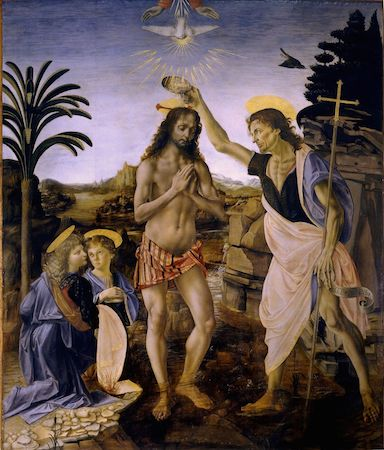 "Andrea del Verrocchio (with Leonardo), Baptism of Christ, 1470-75, oil and tempera on panel, 70 3/4 x 59 3/4"" / 180 x 152 cm (Galleria degli Uffizi, Florence)"