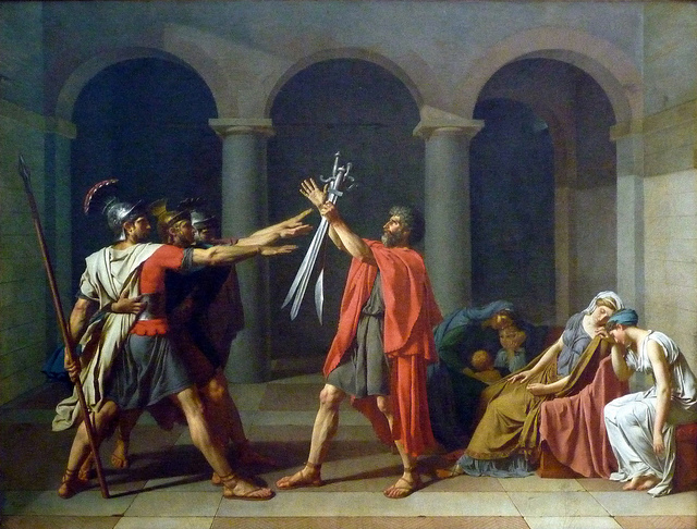 Jacques-Louis David, Oath of the Horatii, 1784, oil on canvas, 10 feet 8 inches x 13 feet 9 inches (Musée du Louvre)