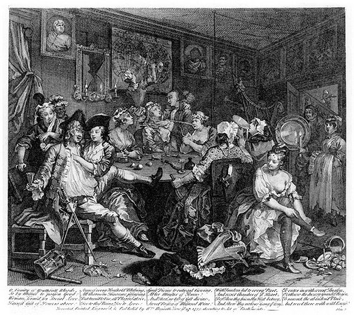 "William Hogarth, A Rake's Progress, plate 3, ""The Tavern Scene,"" 1735, engraving on paper, 35.5 x 31 cm"