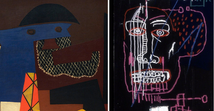 Right: Jean-Michel Basquiat, Horn Players (detail), 1983, acrylic and oilstick on three canvas panels mounted on wood supports, 243.8 x 190.5 cm (The Broad Art Foundation) © The Estate of Jean-Michel Basquiat ; left: Pablo Picasso, Three Musicians (detail), 1921, oil on canvas, 200.7 x 222.9 cm (The Museum of Modern Art)