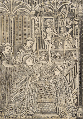 Priest receiving communion before altar (detail), Master of the Church Fathers' Border, The Mass of Saint Gregory, late 15th century, metalcut with traces of hand-coloring; second state, 13 7/8 x 19 15/16 in (The Metropolitan Museum of Art)