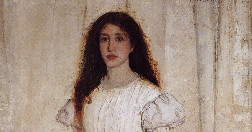 Detail, James Abbott McNeil Whistler, Symphony in White, No. 1: The White Girl, 1862, oil on canvas, 213 x 107.9 cm (National Gallery of Art, Washington D.C.)