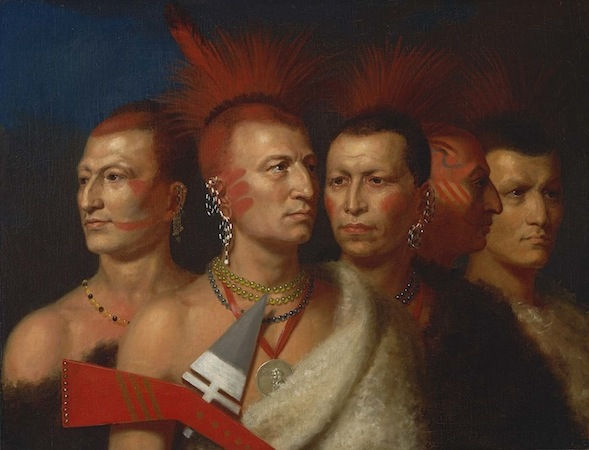 Charles Bird King, Young Omahaw, War Eagle, Little Missouri, and Pawnees, 1821, oil on canvas, 71.1 x 91.8 cm. (Smithsonian American Art Museum)