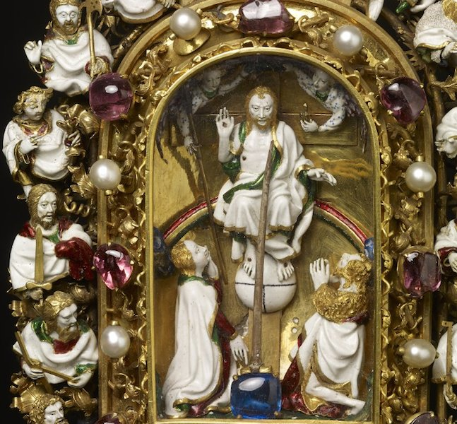 Holy Thorn Reliquary of Jean, duc de Berry, before 1397, gold, enamel, rock crystal, pearls, rubies, sapphires,  30 x 14.2 x 6.8 cm, © Trustees of the British Museum.