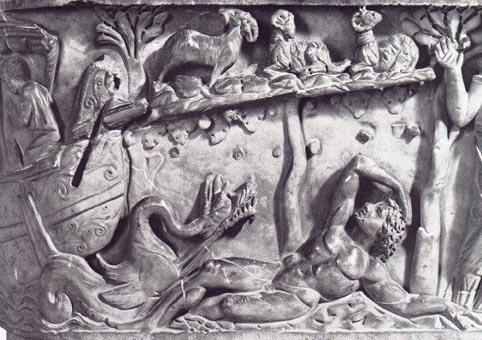 Jonah (detail), Santa Maria Antiqua Sarcophagus, 3rd century CE, from the Church of Santa Maria Antiqua, Rome