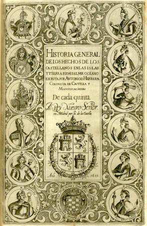 Antonia de Herrera, Historia general de los hechos de los castellanos en las y tierra firme del mar océano, (fifth decade title page), 1615