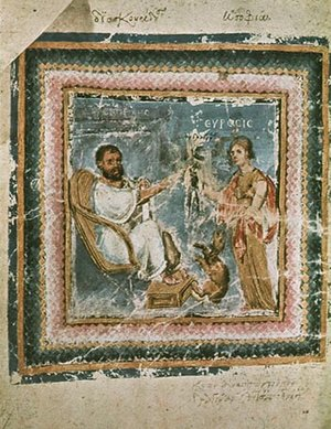 Illustration of Dioscorides, late 6th century C.E., illuminated manuscript