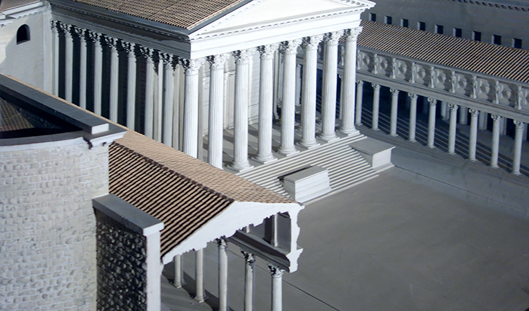 Model of the Temple of Mars Ultor between twin porticoes, Forum Augusti (Mercati di Traiano Museo dei Fori Imperiali, Rome)