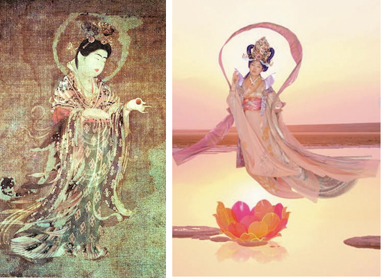 Left: Kichijoten from Yukushi-ji Temple in Nara, 8th century, color on hemp, 53 x 31.7 cm; right: Mariko Mori, Pure Land, 1996-98, glass with photo interlayer, 305 x 610 x 2.2 cm