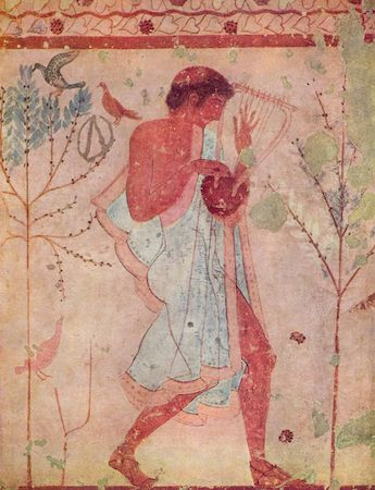 Detail of a barbiton player on the left wall of the Tomb of the Triclinium