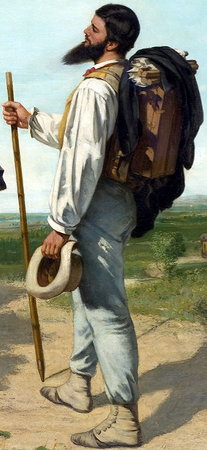 Courbet (detail), Courbet, The Meeting (Bonjour Monsieur Courbet), 1854, oil on canvas, 129 x 149 cm (Musée Fabre, Montpellier)