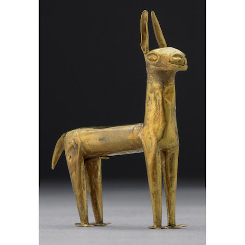 Miniature gold llama figurine, Inka, 6.3 cm high, © Trustees of the British Museum
